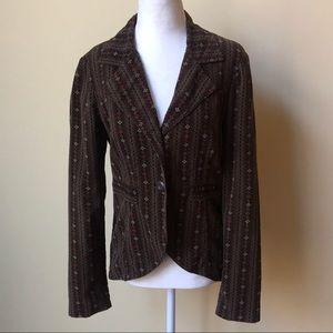 UA Lux Brown Velvet Floral Blazer Jacket